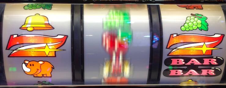ジャグラー逆押し2確目:左リール【ベル・赤7・リプレイ】